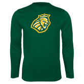 Performance Dark Green Longsleeve Shirt-Lion Head
