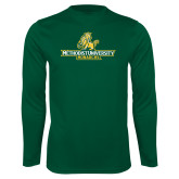 Performance Dark Green Longsleeve Shirt-Methodist University Monarchs