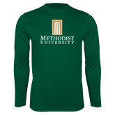 Performance Dark Green Longsleeve Shirt-Primary Instituational Logo