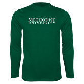 Performance Dark Green Longsleeve Shirt-Horizontal Methodist University