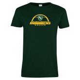 Ladies Dark Green T Shirt-Soccer