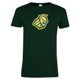 Ladies Dark Green T Shirt-Lion Head