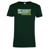 Ladies Dark Green T Shirt-Methodist University Monarchs