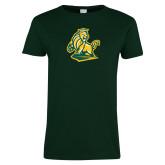 Ladies Dark Green T Shirt-Primary Mark Distressed