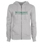 ENZA Ladies Grey Fleece Full Zip Hoodie-Horizontal Methodist University