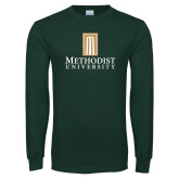 Dark Green Long Sleeve T Shirt-Primary Instituational Logo