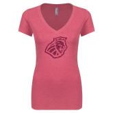 Next Level Ladies Vintage Pink Tri Blend V Neck Tee-Lion Head Hot Pink Glitter