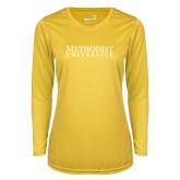 Ladies Syntrel Performance Gold Longsleeve Shirt-Horizontal Methodist University