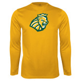 Performance Gold Longsleeve Shirt-Lion Head