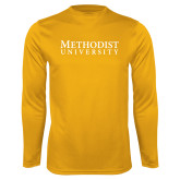 Performance Gold Longsleeve Shirt-Horizontal Methodist University
