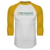 White/Gold Raglan Baseball T Shirt-Official Artwork
