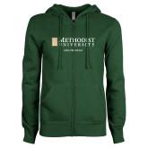 ENZA Ladies Dark Green Fleece Full Zip Hoodie-MBA Program