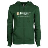 ENZA Ladies Dark Green Fleece Full Zip Hoodie-School of Health Sciences