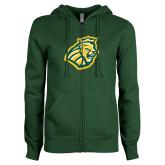 ENZA Ladies Dark Green Fleece Full Zip Hoodie-Lion Head