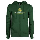 ENZA Ladies Dark Green Fleece Full Zip Hoodie-Methodist University Monarchs