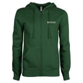 ENZA Ladies Dark Green Fleece Full Zip Hoodie-Official Artwork
