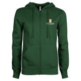 ENZA Ladies Dark Green Fleece Full Zip Hoodie-Primary Instituational Logo