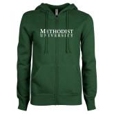 ENZA Ladies Dark Green Fleece Full Zip Hoodie-Horizontal Methodist University