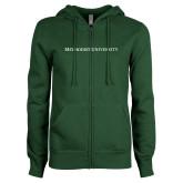 ENZA Ladies Dark Green Fleece Full Zip Hoodie-Methodist University Word Mark