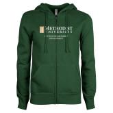 ENZA Ladies Dark Green Fleece Full Zip Hoodie-Center for Leadership Development