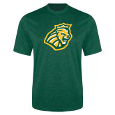 Performance Dark Green Heather Contender Tee-Lion Head