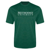 Performance Dark Green Heather Contender Tee-Horizontal Methodist University