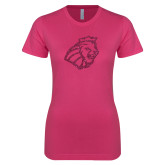 Next Level Ladies SoftStyle Junior Fitted Fuchsia Tee-Lion Head Hot Pink Glitter