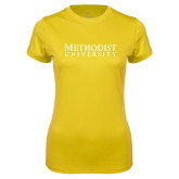 Ladies Syntrel Performance Gold Tee-Horizontal Methodist University