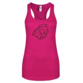 Next Level Ladies Raspberry Ideal Racerback Tank-Lion Head Hot Pink Glitter