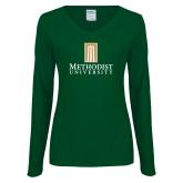 Ladies Dark Green Long Sleeve V Neck Tee-Primary Instituational Logo