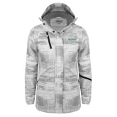Ladies White Brushstroke Print Insulated Jacket-Official Artwork