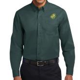 Dark Green Twill Button Down Long Sleeve-Lion Head