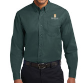 Dark Green Twill Button Down Long Sleeve-Primary Instituational Logo