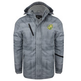 Grey Brushstroke Print Insulated Jacket-Lion Head