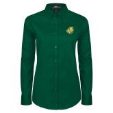 Ladies Dark Green Twill Button Down Long Sleeve-Lion Head