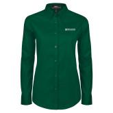 Ladies Dark Green Twill Button Down Long Sleeve-Official Artwork