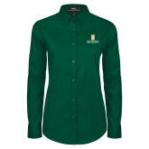 Ladies Dark Green Twill Button Down Long Sleeve-Primary Instituational Logo