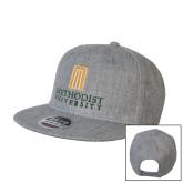 Heather Grey Wool Blend Flat Bill Snapback Hat-Primary Instituational Logo