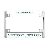 Metal Motorcycle License Plate Frame in Chrome-Methodist University Word Mark