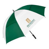 62 Inch Forest Green/White Umbrella-Primary Instituational Logo