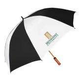 64 Inch Black/White Vented Umbrella-Primary Instituational Logo