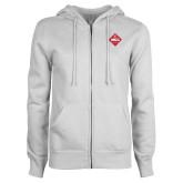 ENZA Ladies White Fleece Full Zip Hoodie-50 Year Mark