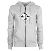 ENZA Ladies White Fleece Full Zip Hoodie-Western IHSA Team Mark
