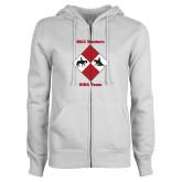 ENZA Ladies White Fleece Full Zip Hoodie-Western IHSA Team Design
