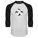 White/Black Raglan Baseball T Shirt-Western IHSA Team Mark