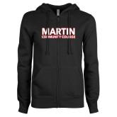 ENZA Ladies Black Fleece Full Zip Hoodie-Martin Community College