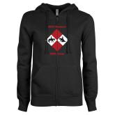 ENZA Ladies Black Fleece Full Zip Hoodie-Western IHSA Team Design