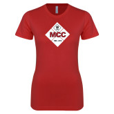 Next Level Ladies SoftStyle Junior Fitted Red Tee-50 Year Mark