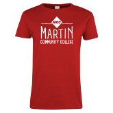 Ladies Red T Shirt-Primary Mark over Martin Community College