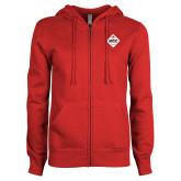 ENZA Ladies Red Fleece Full Zip Hoodie-50 Year Mark